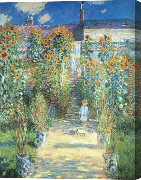 Claude Monet The Artist Garden at Vetheuil Stretched Canvas Painting