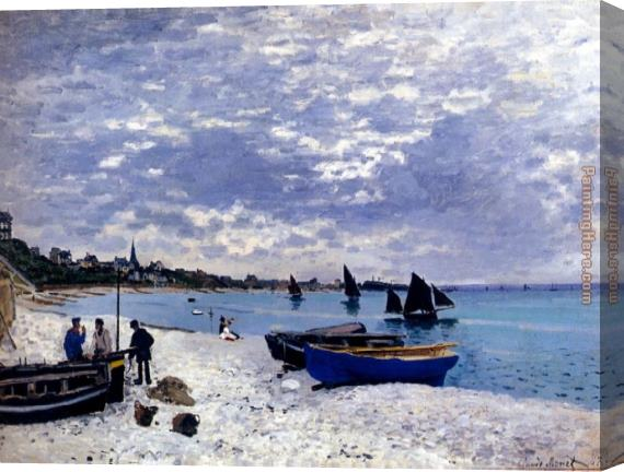 Claude Monet The Beach At Sainte-Adresse Stretched Canvas Painting