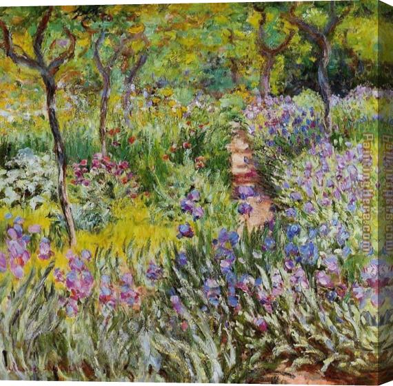 Claude Monet The Iris Garden at Giverny Stretched Canvas Painting