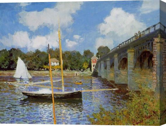 Claude Monet The Road Bridge at Argenteuil 1 Stretched Canvas Painting