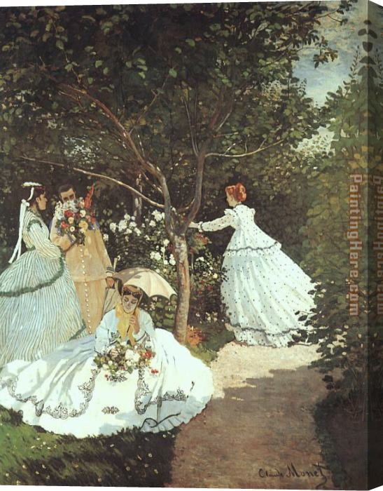 Claude Monet The women in the Garden Stretched Canvas Painting