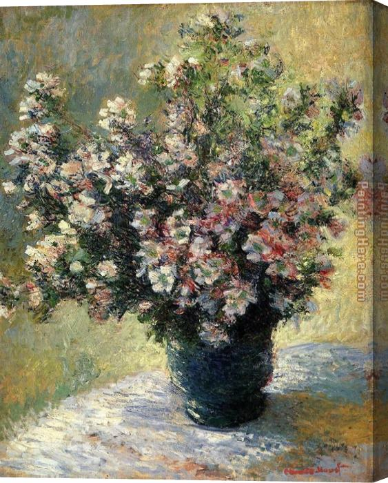 Claude Monet Vase Of Flowers Stretched Canvas Painting