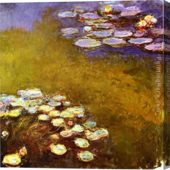 Claude Monet Water-Lilies 1917 Stretched Canvas Painting