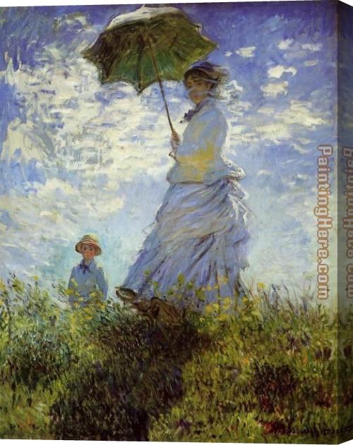 Claude Monet Woman with a Parasol Stretched Canvas Painting