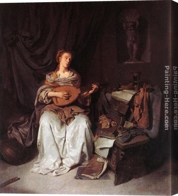 Cornelis Bega Woman Playing a Lute Stretched Canvas Painting