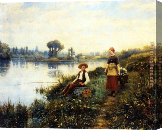 Daniel Ridgway Knight A Passing Conversation Stretched Canvas Painting