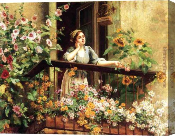 Daniel Ridgway Knight A Pensive Moment Stretched Canvas Painting