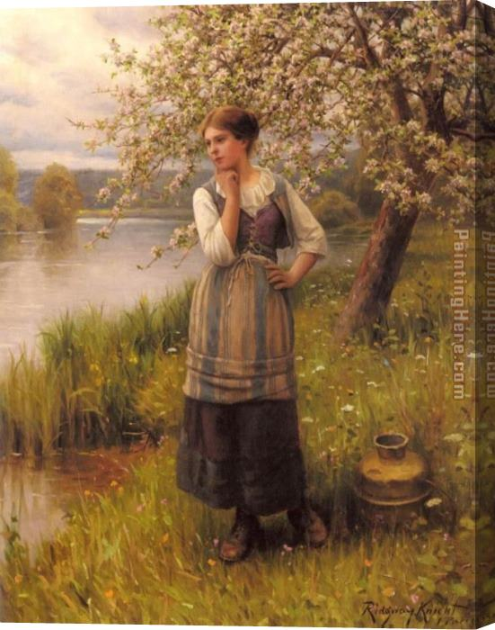 Daniel Ridgway Knight Beneath The Apple Tree Stretched Canvas Painting