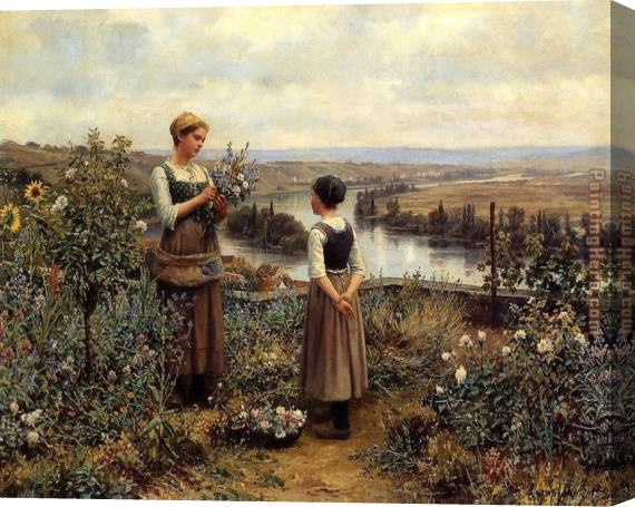 Daniel Ridgway Knight Knight Picking Flowers Stretched Canvas Painting
