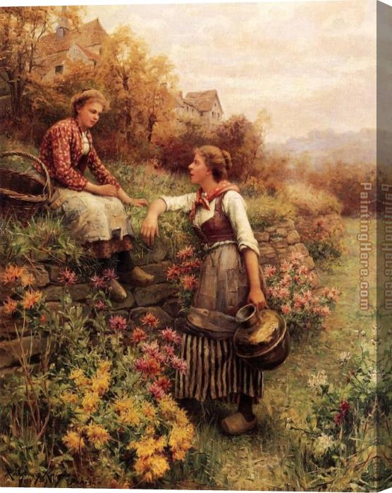 Daniel Ridgway Knight Marie and Diane Stretched Canvas Painting
