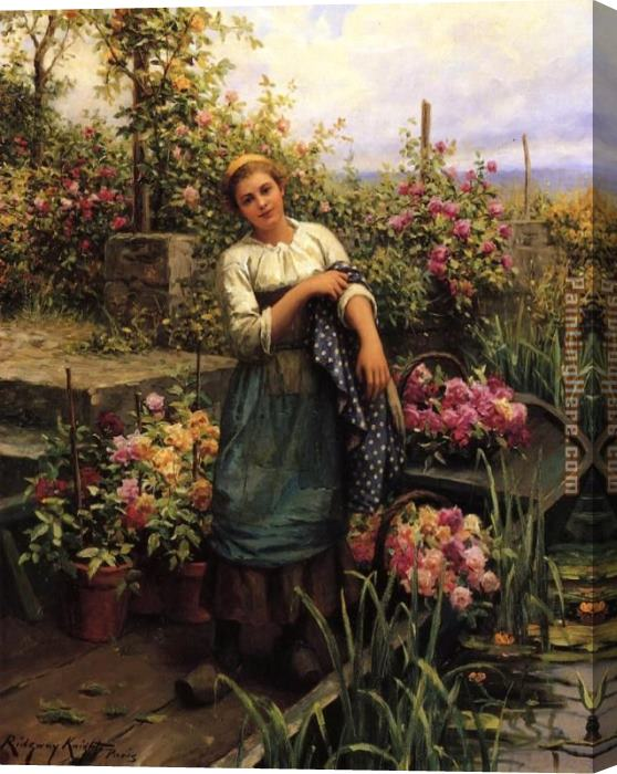 Daniel Ridgway Knight The Flower Boat Stretched Canvas Painting