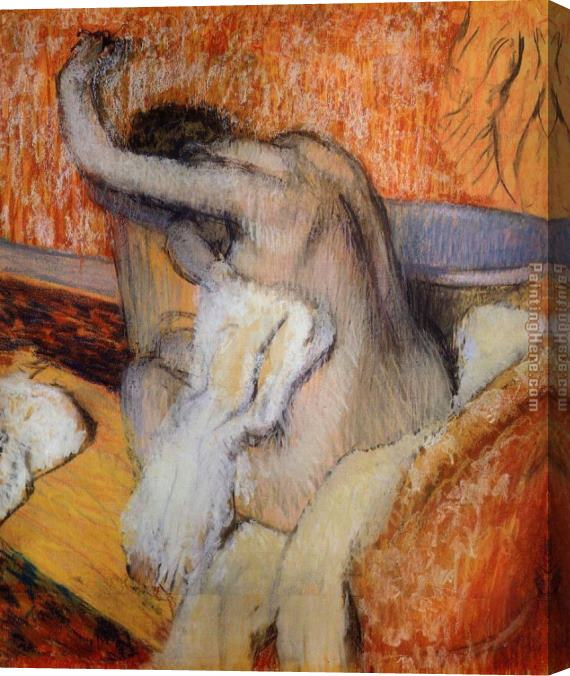 Edgar Degas After the Bath, Woman Drying Herself Stretched Canvas Painting