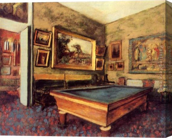 Edgar Degas The Billiard Room at Menil-Hubert Stretched Canvas Painting