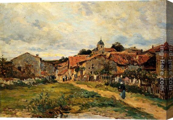 Edmond Marie Petitjean The Village Road Stretched Canvas Painting