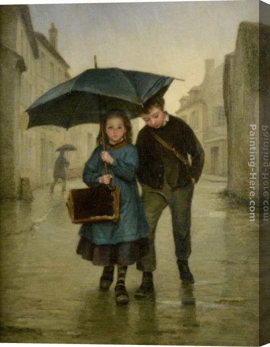 Edouard Frere Going to School Stretched Canvas Painting