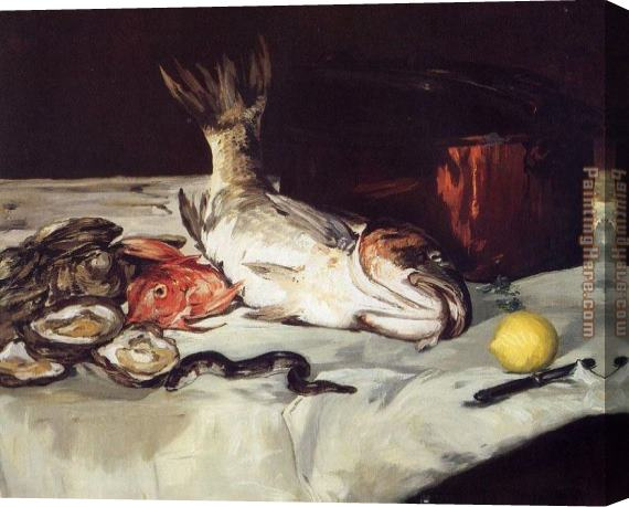 Edouard Manet Still Life with Fish Stretched Canvas Painting