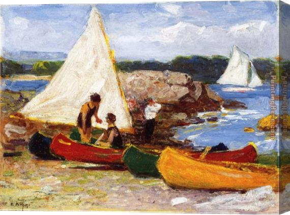 Edward Henry Potthast Canoes and Sailboats Stretched Canvas Painting