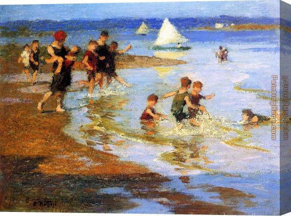 Edward Henry Potthast Children at Play on the Beach Stretched Canvas Painting