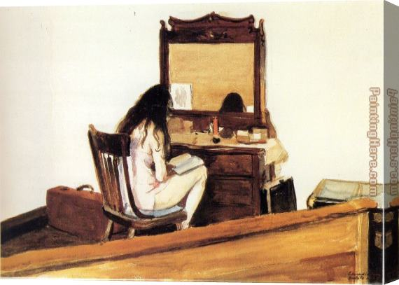 Edward Hopper Interior Model Reading Stretched Canvas Painting