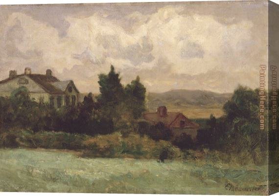 Edward Mitchell Bannister houses and trees Stretched Canvas Painting