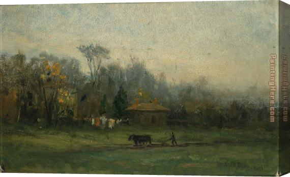 Edward Mitchell Bannister landscape with man plowing fields Stretched Canvas Painting