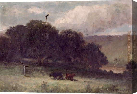 Edward Mitchell Bannister landscape with trees and two cows in meadow Stretched Canvas Painting