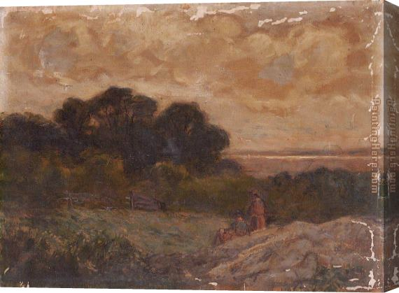Edward Mitchell Bannister Landscape with Two Women Reclining on Rocks Stretched Canvas Painting