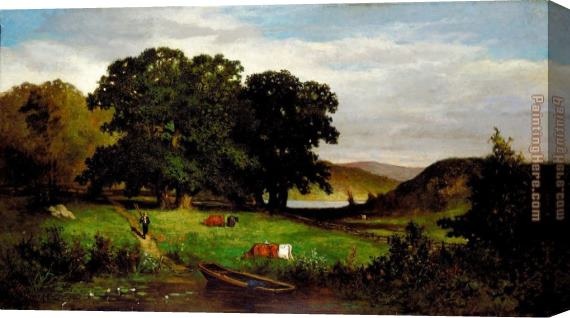 Edward Mitchell Bannister Oak Trees Stretched Canvas Painting
