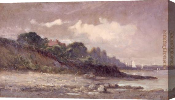Edward Mitchell Bannister shoreline with sailboats and roof Stretched Canvas Painting