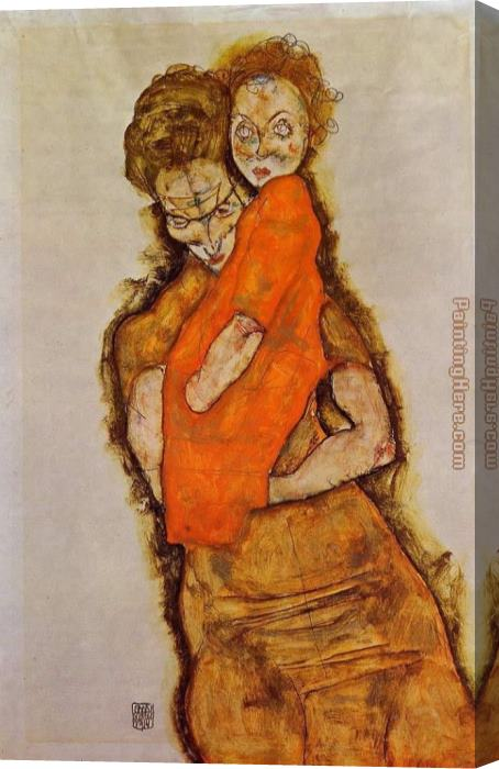 Egon Schiele Mother and Child Stretched Canvas Painting