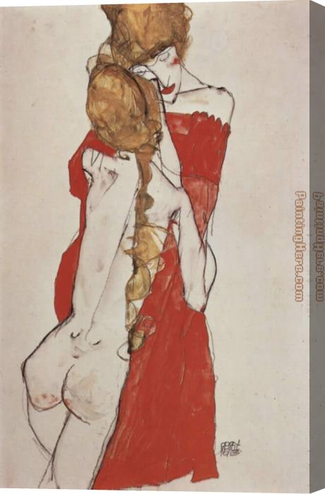 Egon Schiele Mother and daughter Stretched Canvas Painting