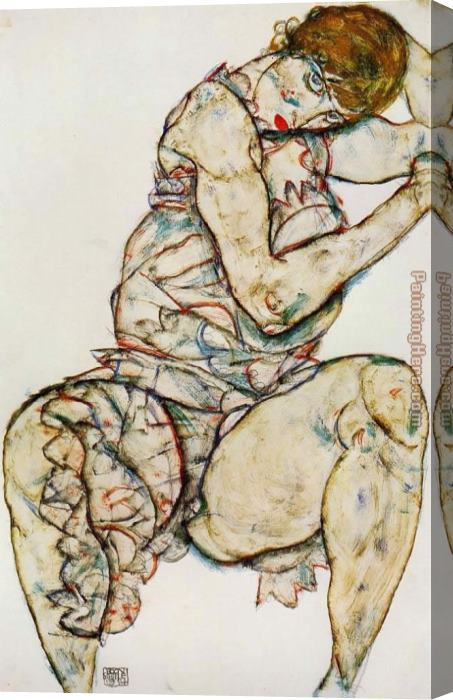 Egon Schiele Seated Woman with Her Left Hand in Her Hair Stretched Canvas Painting