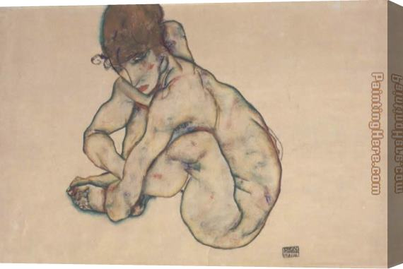 Egon Schiele Sitting feminine act Stretched Canvas Painting