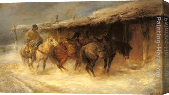 Emil Rau Wallachian Horsemen in the Snow Stretched Canvas Painting