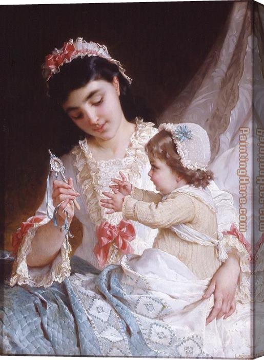 Emile Munier Distracting the Baby Stretched Canvas Painting