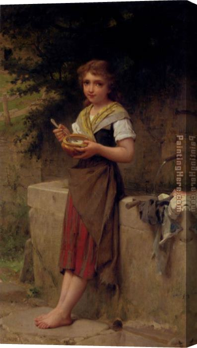 Emile Munier La Jeune Paysanne Stretched Canvas Painting