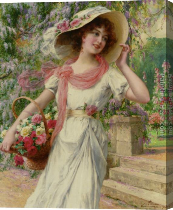 Emile Vernon The Flower Garden Stretched Canvas Painting