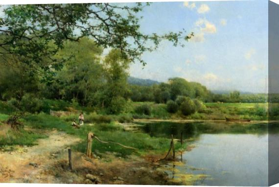 Emilio Sanchez-Perrier A Picnic on the Riverbank Stretched Canvas Painting