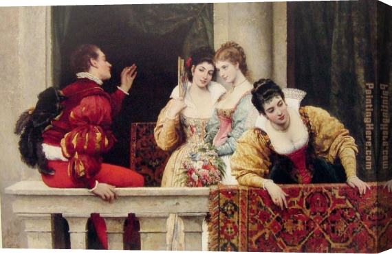 Eugene de Blaas On the Balcony Stretched Canvas Painting