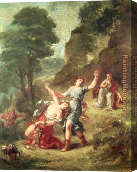 Eugene Delacroix Orpheus and Eurydice Spring from a series of the Four Seasons 1862 Stretched Canvas Painting