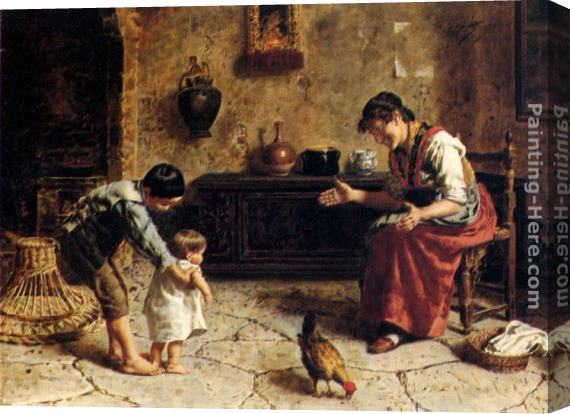 Eugenio Zampighi The First Steps Stretched Canvas Painting