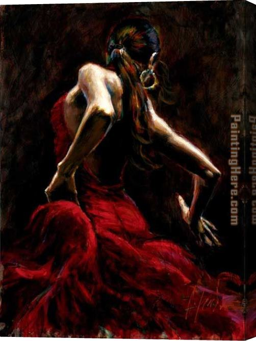 Fabian Perez Dancer in Red Stretched Canvas Painting