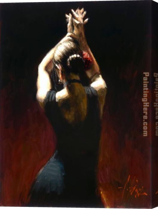 Fabian Perez flamenco dancer in black Dress Stretched Canvas Painting