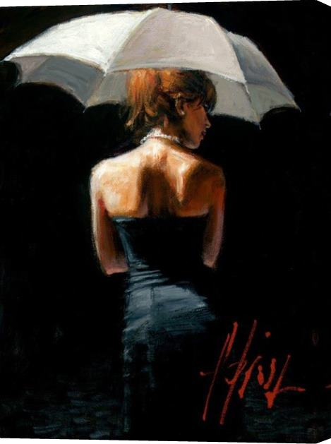 Fabian Perez Woman with White Umbrella Stretched Canvas Painting