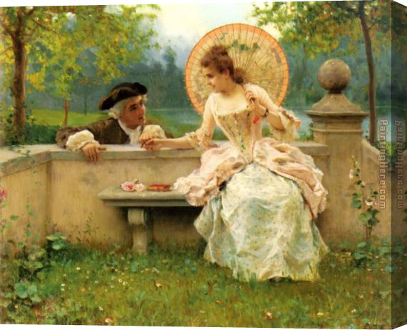 Federico Andreotti A Tender Moment in the Garden Stretched Canvas Painting