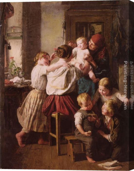 Ferdinand Georg Waldmuller Children Making Their Grandmother a Present on Her Name Day Stretched Canvas Painting