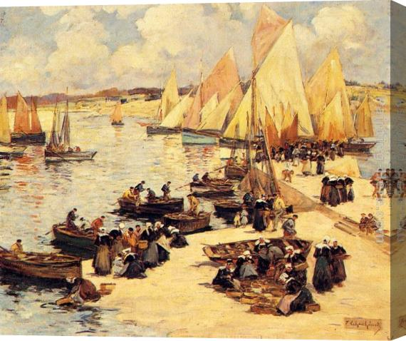 Fernand Marie Eugene Legout-Gerard A French Harbor Stretched Canvas Painting