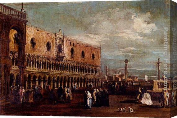 Francesco Guardi Venice, A View Of The Piazzetta Looking South With The Palazzo Ducale Stretched Canvas Painting
