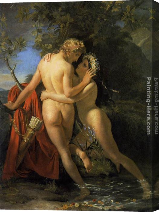 Francois Joseph Navez The Nymph Salmacis and Hermaphroditus Stretched Canvas Painting