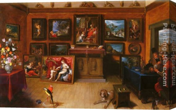 Frans the younger Francken A Picture Gallery With A Man Of Science Making Measurements On A Globe Stretched Canvas Painting